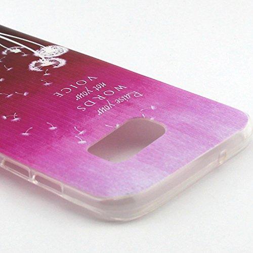 ikasus - Carcasa ultra fina de silicona suave resistente a los arañazos para Galaxy S7 (2016) Rose Red Dandelion