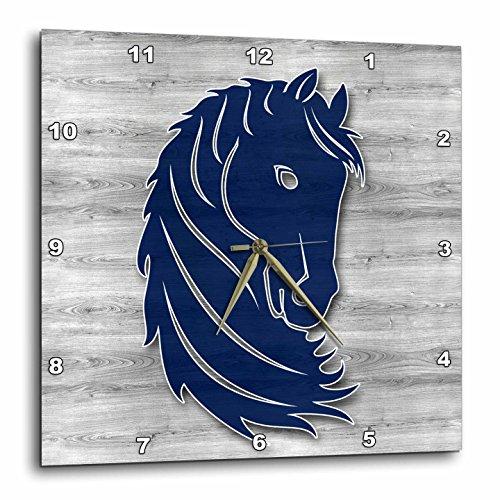 3dRose Doreen Erhardt Western - Blue Horse Head in Wood Patterns on Gray Barn Wood Country Western - 13x13 Wall Clock (dpp_264569_2) ()