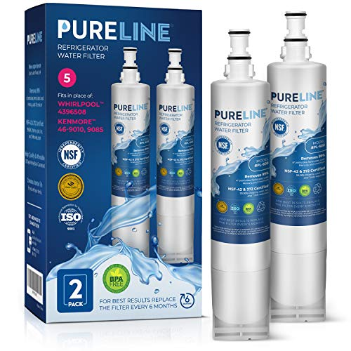 Whirlpool 4396508 Certified Water Filter. Compatible with Whirlpool 4396508, 4395610, EDR5RXD1, Filter 5, PUR 4396508 for Kitchenaid, Maytag, & Whirlpool Side By Side Refrigerator -PURELINE (2 Pack) (Ksc24c8eyy02 Water Filter)