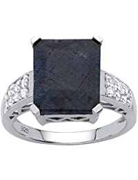 .925 Sterling Silver Emerald Cut Genuine Blue Sapphire and White Topaz Ring