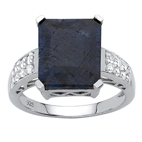 .925 Sterling Silver Emerald Cut Genuine Blue Sapphire and White Topaz Ring Size 6
