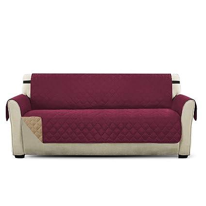 PETCUTE Lujo Cubre para Silla Fundas de Sofa Protector de sofá o sillón, Dos o Tres plazas Vino Rojo 3 plazas