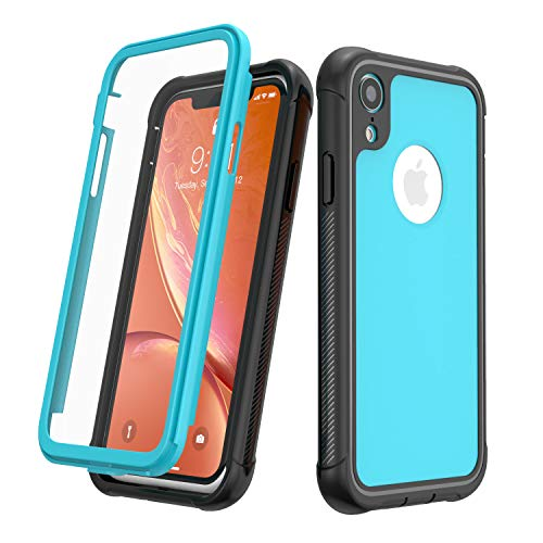 - Designed for iPhone XR Case, JUSTCOOL Full Body Heavy Duty Protection with Built-in Screen Protector Shockproof Rugged Cover Designed for iPhone XR Cases (2018) 6.1 Inch (Black+Blue)