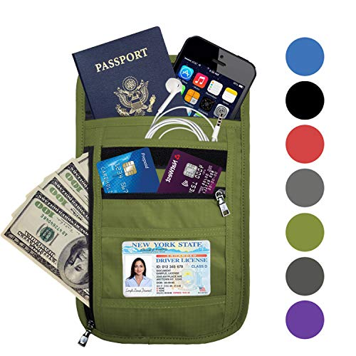 OMYSTYLE FASHION RFID Blocking Travel Passport Holder Neck Pouch Wallet for Men & Women, Green