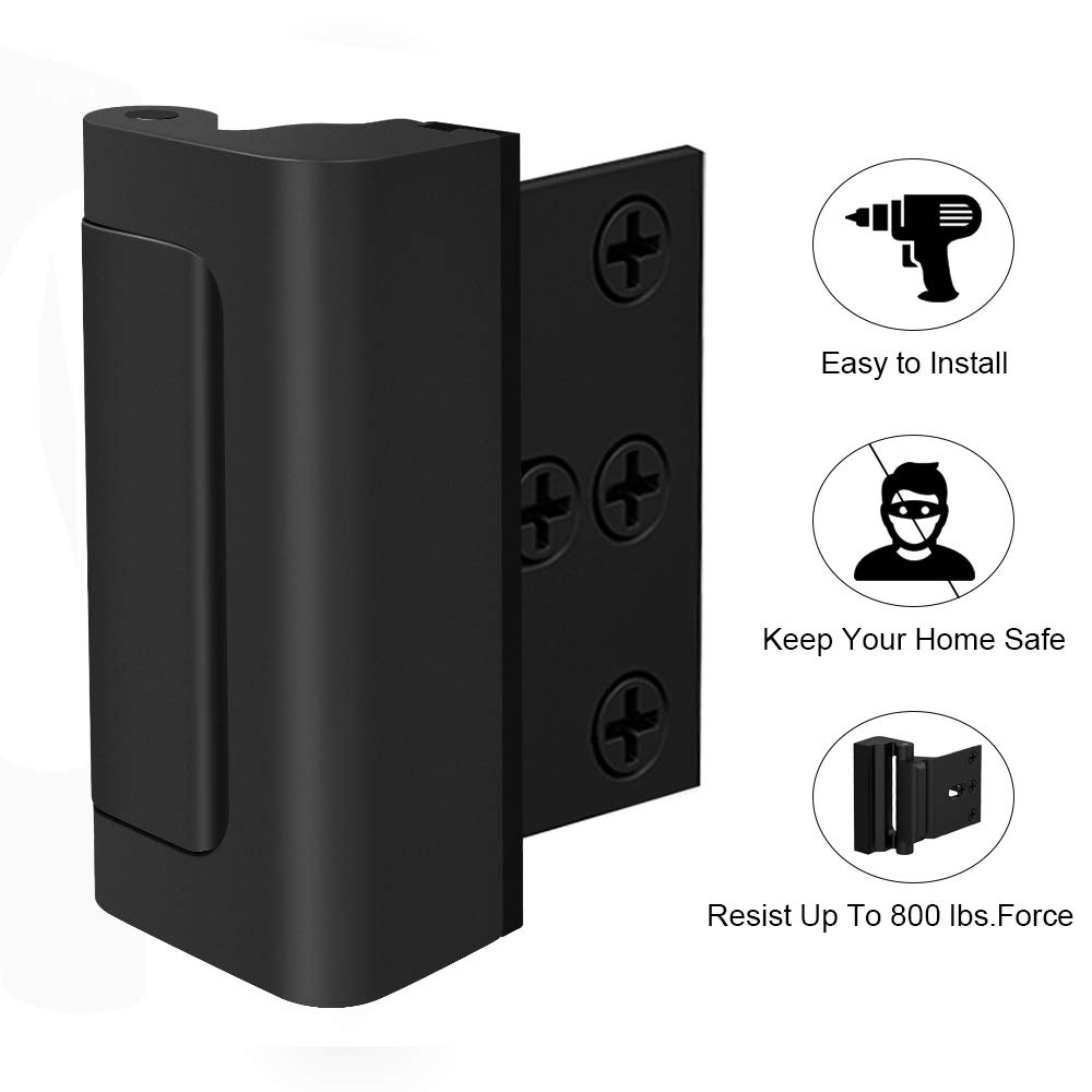 """Door Reinforcement Lock,3""""Defender Security Door Lock for Toddler,Home Child Proof Door Locks Withstand 800 lbs for Inward Swinging Door,Easy to Install. (Black- 1 Pack)"""