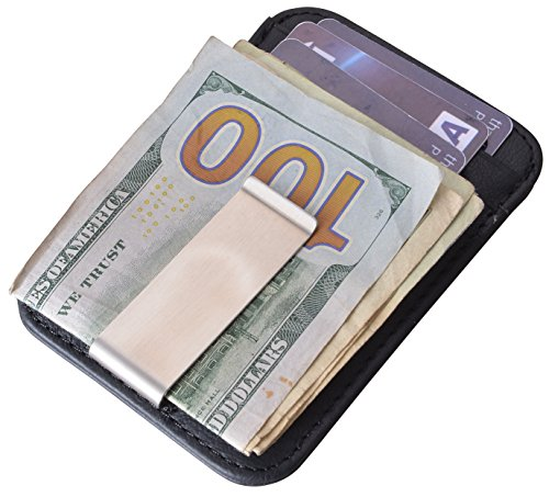 Yeeasy Slim Mini Money Clip Wallet Vintage Genuine Leather Front Pocket Wallet (Black) -