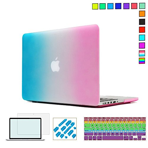 4in 1 Colour - RYGOU 4 in 1 Rubberized Rainbow Color Hard Case with Keyboard Cover Screen Protector for Macbook Pro 15