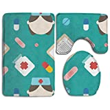 YUSHIHUA Bath Mat 3 Piece Flannel Bathroom Rug Set,Medical Shading Art Design Shower Mat And Toilet Cover, Non Slip And Extra Soft Toilet Kit, Anti Slippery Rug