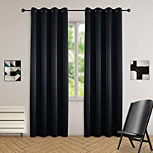 LOFT store Blackout Curtains Room Darkening Thermal Insulated Fashion Grommet Window Curtain For Living Room Bedroom (Black(1 panel), 52Wx63L)