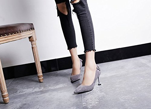 Shoes All High Spring Heeled Shoes Leisure High Cat Shoes Work With Heels Fine With MDRW Gray Lady 35 Elegant Match Pointed 8Cm nqBORg