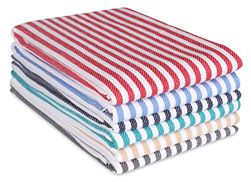 Quick Dry Kitchen Towels & Dishcloth, Highly Absorbent & Quick Dry, Professional Grade Cotton Tea Towels for Everyday Cooking and Baking - French Vintage Stripes - 6 Pack - 18x28 - Multicolor Pack