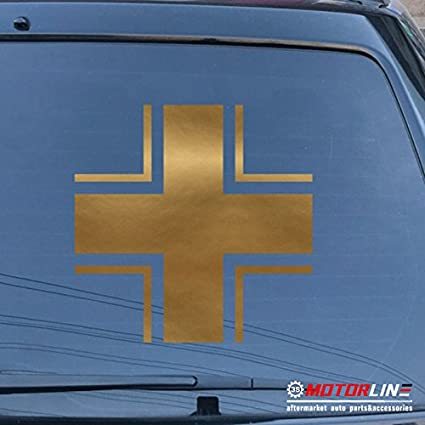 3S MOTORLINE 2X White 4 Iron Cross Decal Sticker Car Vinyl German Germany Bundeswehr e