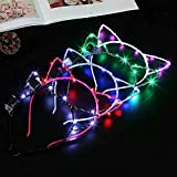 10Pcs Cat Ear LED Glow Hairbands LED Light Up Flashing Headband Glow in The Dark LED Costume Headband LED Blinking Hair Band for Night Clubs, Event Favors, Raves, Concert Party, Halloween