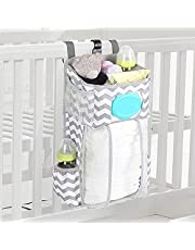Hanging Diaper Caddy,Diaper Organizer For Crib,Cot Bed Hanging Storage Bag,Muitifuctional Organization Storage Bag,Diaper Stacker for Changing Table,Store Baby Nappy,Toy,Baby Bottle,Baby Essentials