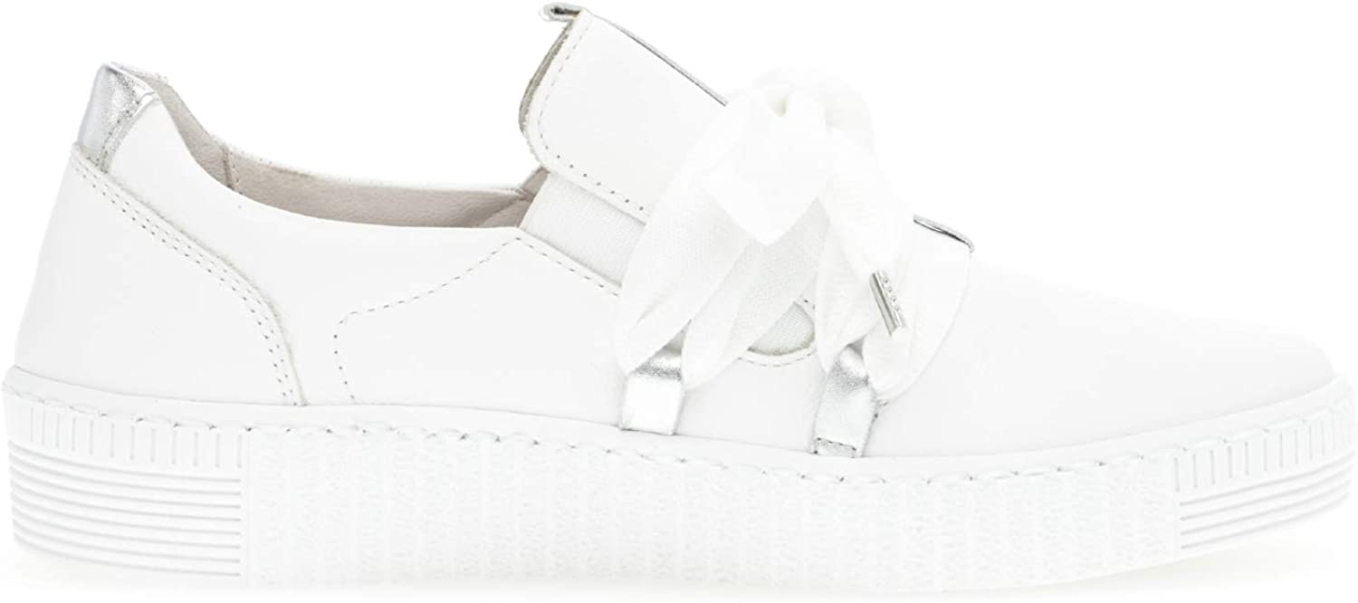 Gabor Femme Baskets Mode, Dame Faible, Low Weiss Silber Blanc