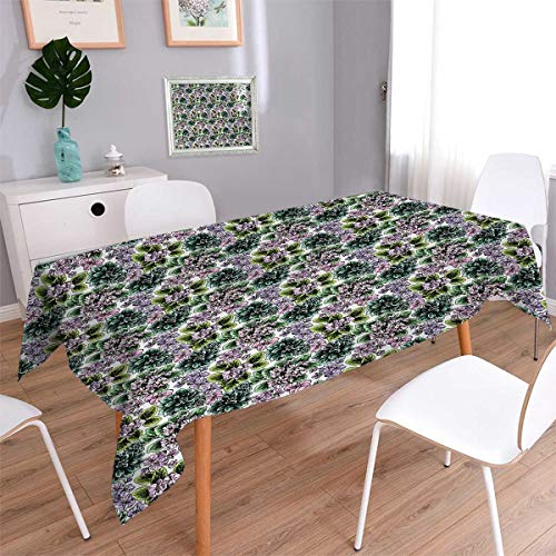 Flowering African Violet (Anmaseven Floral Square Dinner Picnic Table Cloth Flowering Plants Gardening African Violet Peonies Hydrangea Foliage Illustration Waterproof Table Cover for Kitchen Multicolor Size: W60 x L60)