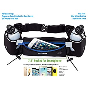 Running Hydration Belt with Water Bottles (2x BPA Free 10oz), Fuel Belt Fits Iphone 6s Plus for Running, Race, Marathon, Hiking, Adjustable Waist Hydration Pack, Men & Women Runners Belt