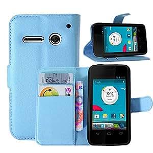 Sannysis Leather Wallet Pouch Flip Cover For Vodafone Smart 4 Mini (Blue)