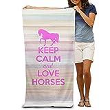 Pink Keep Calm Love Horses Animals Loves Beach Towel