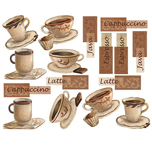 Wallies Wall Decals, Fresh Brew Coffee Cup Wall Stickers, Set Of 16