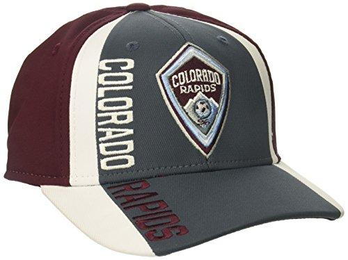 fan products of MLS Colorado Rapids Adult Men Cut 'N Sew Curved Visor Flex, Large/X-Large, Grey/Maroon