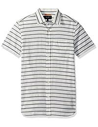Jack Spade mens Berber Strip Short Sleeve Poplin Shirt