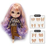 The 30.5cm ICY nude doll is the same as Blythe doll,can change the faceplate and clothes for DIY maker,19 joint body doll is suitable for girls present and best gift. (PURPLE)