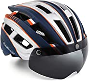 EASTINEAR Adult Bike Helmet with Magnetic Goggles Bicycle Helmet for Men Women with Sun Visor LED Rear Light R