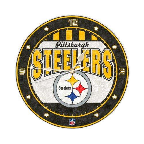 Pittsburgh Steelers 12 Inch Art Glass Clock - Nfl Hand Painted Art Glass