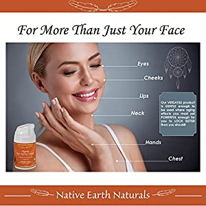 Anti Aging Cream, Look and Feel Radiantly Younger, Soften, Tone, Brighten, Healthier, Face-Eyes-Day-Night, Anti Aging Skin Care by Native Earth Naturals, Moisturizer, Organic Essential Oils, Luxurious