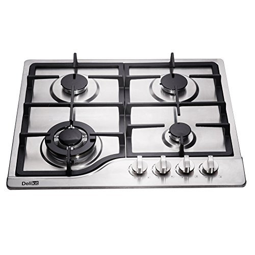 DeliKit DK245-B02 24 inch gas cooktop gas hob stovetop 4 burners LPG/NG Dual Fuel 4 Sealed Burners brass burner Stainless Steel Built-In gas hob 110V AC pulse ignition gas cooktop gas stove