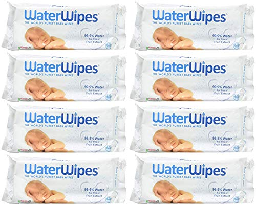 WaterWipes Sensitive Baby Wipes, Unscented, 480 Count (8 Packs of 60 Count)
