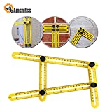 Tools & Hardware : Amenitee Universal Angularizer Ruler - Easy Angle Ruler-Multi Angle Measuring Tool-With Unique Line Level-Embedded ABS Bolts and Nuts-Angleizer Template Tool(Yellow)