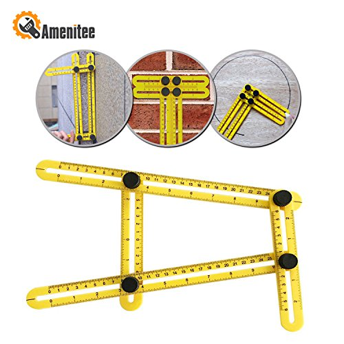 : Amenitee Universal Angularizer Ruler - Easy Angle Ruler-Multi Angle Measuring Tool-With Unique Line Level-Embedded ABS Bolts and Nuts-Angleizer Template Tool(Yellow)