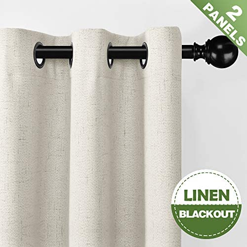 Fmfunctex Linen Curtains Natural White Blackout Curtains for Living Roon 96 inches Long Thermal Insulated Window Drapes 2 pcs Grommet Top