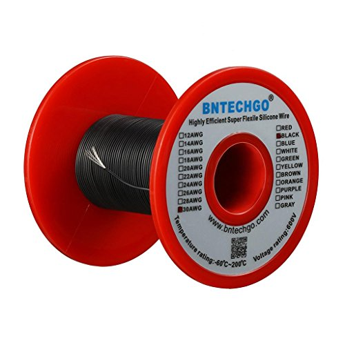 BNTECHGO 30 Gauge Silicone Wire Spool Black 50 feet Ultra Flexible High Temp 200 deg C 600V 30 AWG Silicone Rubber Wire 11 Strands of Tinned Copper Wire Stranded Wire for Model Battery Low Impedance