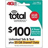 Total Wireless $100 Shared Plan - Unlimited Talk, Text, 25GB Data - 30 Days