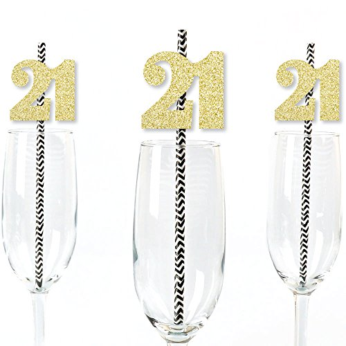 Gold Glitter 21 Party Straws - No-Mess Real Gold Glitter Cut-Out Numbers & Decorative 21st Birthday Party Paper Straws - Set of 24]()
