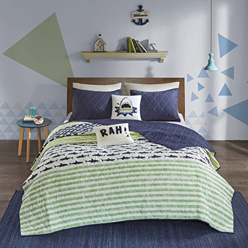 Urban Habitat Kids Finn Full/Queen Bedding Sets Boys Quilt Set - Green, Navy , Shark Stripe – 5 Piece Kids Quilt For Boys – 100% Cotton Quilt Sets Coverlet
