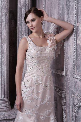Prinzessin Satin ueber Spitze Weiß Brautkleider Hochzeitskleider Brautkleid BRIDE Vierkantansatz GEORGE Rueckenfrei RFfTfq