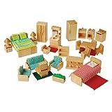 Children's Hardwood 26 pc. Play Furniture Set to Furnish 4 Dollhouse Rooms