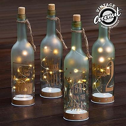 Botella de Vidrio con LED Vintage Coconut