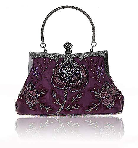 Wjp Evening Bag Femme, Mariée, Banquet, Soirée, Sac à bandoulière diagonale, Pochette, Perlée, Mini, Gris, Purple Centimeter
