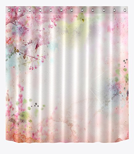 LB Abstract Watercolor Spring Flower Background Shower Curtain Set, Spring Blossom Restroom Decor Curtain, 70