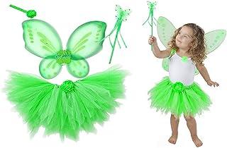 Amosfun Costume da Principessa Fairy Tutu Set da Strega Costume da Giorno di San Patrizio per Ragazze Bambina Dress Up 3PCS - Taglia S (Verde Chiaro)