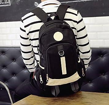 La versión coreana de hombro pack hombre mochila bolsa de lona de gran capacidad estudiante de la High School secundaria bolsa bolsa de ordenador bolsas de deporte, negro: Amazon.es: Equipaje