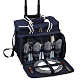 Cheap Picnic at Ascot Equipped Picnic Cooler with Service for 4 on Wheels – Navy