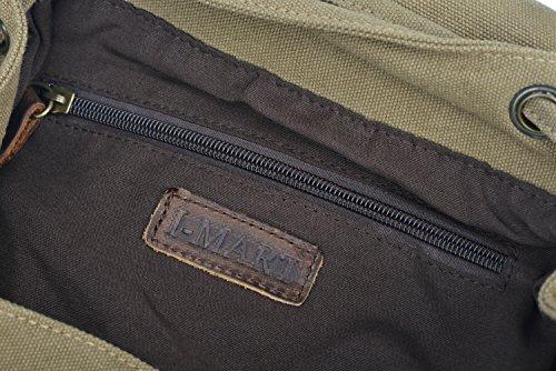 MissFox Leinwand Rucksack Rucksack Tasche Satchel Bookbag Militärgrün dNiEG8Z