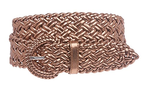 - MONIQUE Women 100% Hand Made Metallic Braided Woven Non Leather 32mm Belt,Copper S - 31