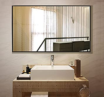 Large Rectangular Bathroom Mirror, Wall Mounted Framed Vainty Mirror, Black  37.4u0026quot;x25